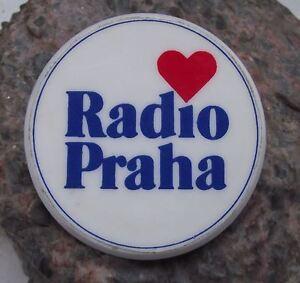 I Love Radio Prague Red Heart Praha Czechoslovakia Broadcasting Pin Badge
