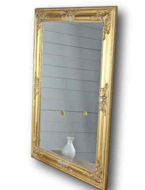 Espejo Oro Antiguo 82x62 cm madera NUEVO de Pared Barroco Baño pie