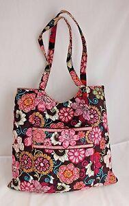 Vera Bradley Mod Floral Pink Brown Villager Tote Large Shoulder Bag ... 0a619196ba0d4