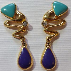 Pierced-earrings-C34-Gold-Purple-Turquoise-Enamel-Crystal