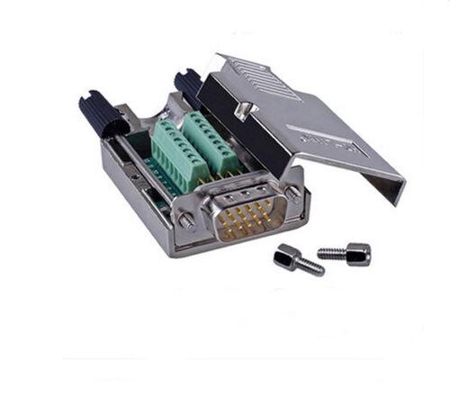 D-SUB DB15 VGA  3 Row 15Pin Plug To Terminal Breakout Board Connectors Solid Pin