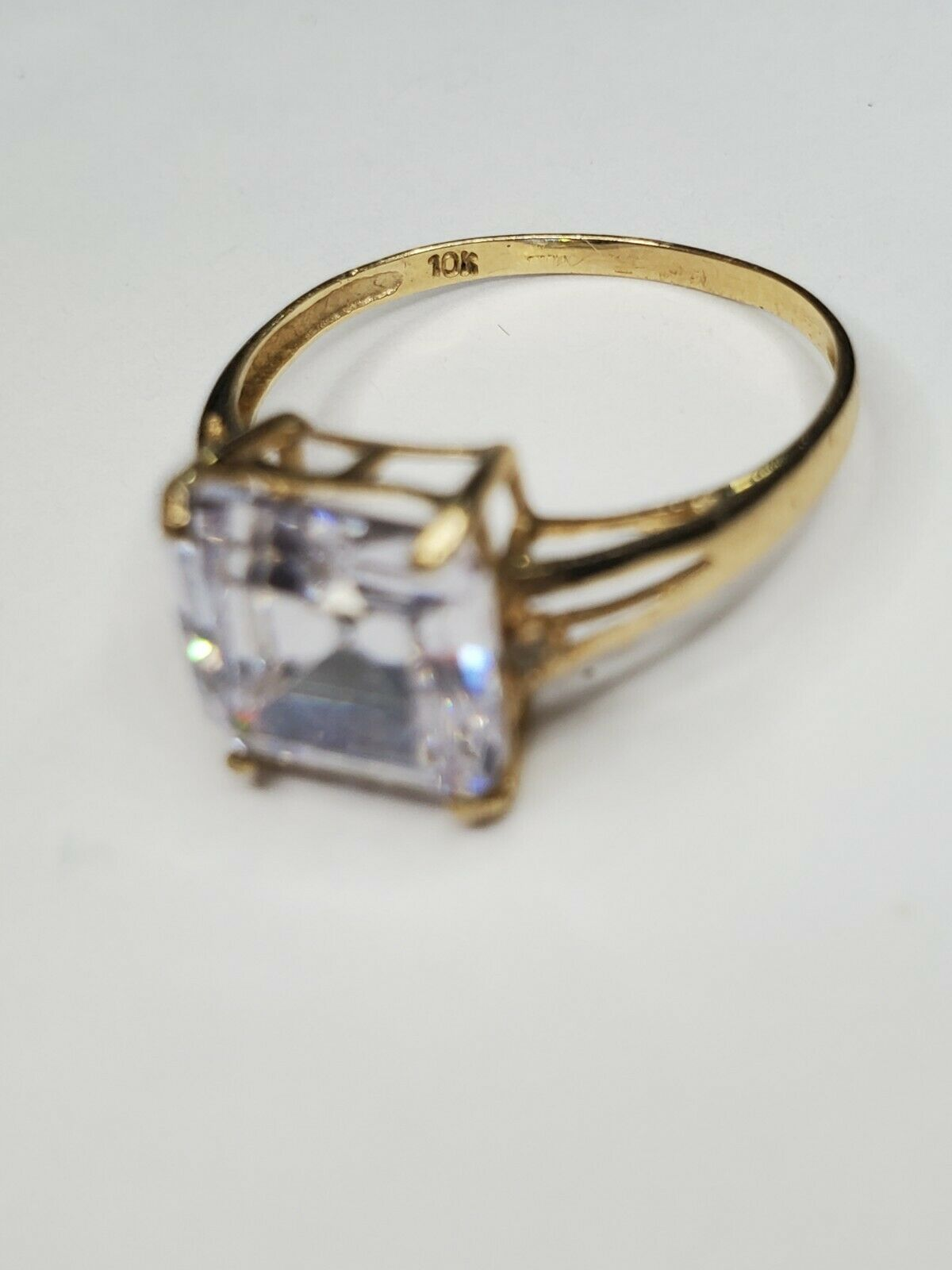 Solid 10k Gold Ring Solitaire Princess Cut  - image 2