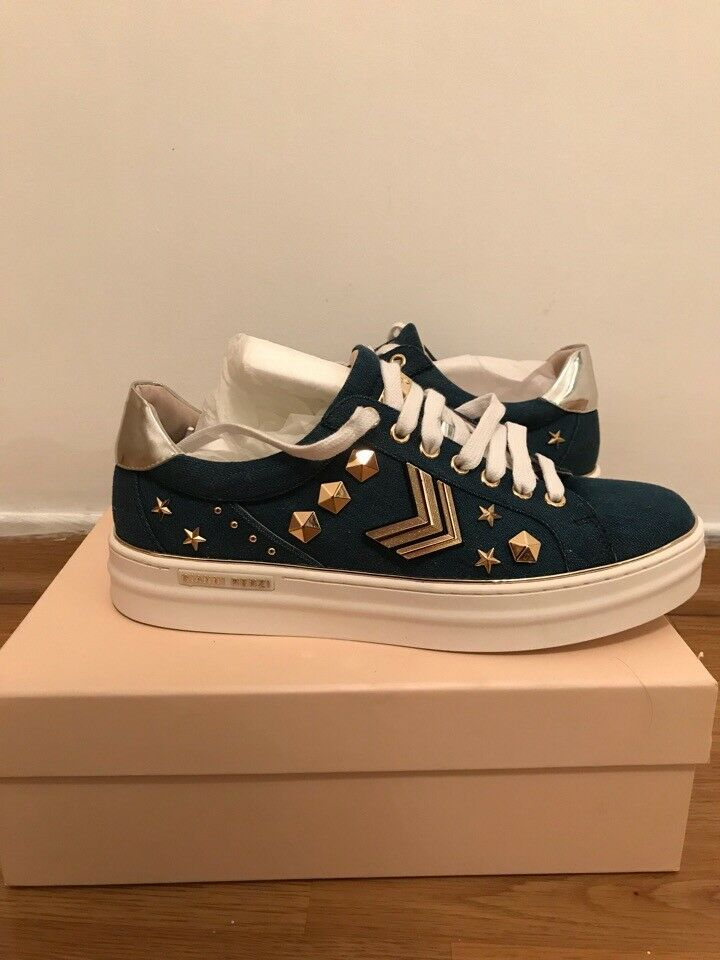 Gianni Renzi Blue Leather Studded Sneakers 41 /