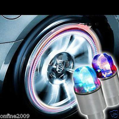 2pc AMAZING Colorful LED Bike Bicycle Tire Valve Light Up Night Ride Caps