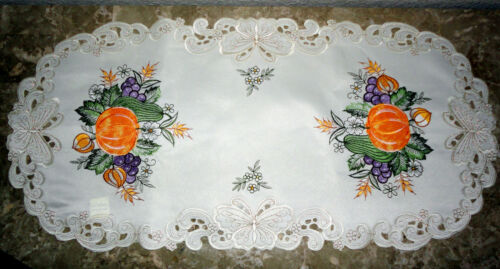 """Bountiful Fall  Lace Doily 27/"""" Doily Runner  Pumpkin Butterfly Thanksgiving"""
