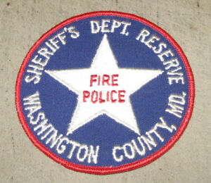"""WASHINGTON COUNTY, Maryland  SHERIFF'S Dept RESERVE 4"""" Arm Patch Fire Police"""