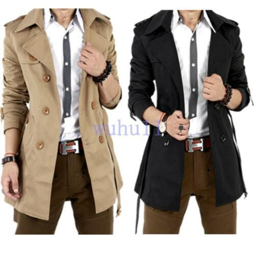 Men/'s Chic Double Breasted Trench Coat Long Jacket Overcoat Outwear Dust Coats