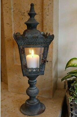 Antique Large Lantern Candle Holder Black Home or Garden French Vintage
