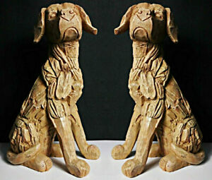 Details About Set Of 2 Rustic Wood Effect Sitting Dog Garden Ornament Sculpture Indoor Outdoor