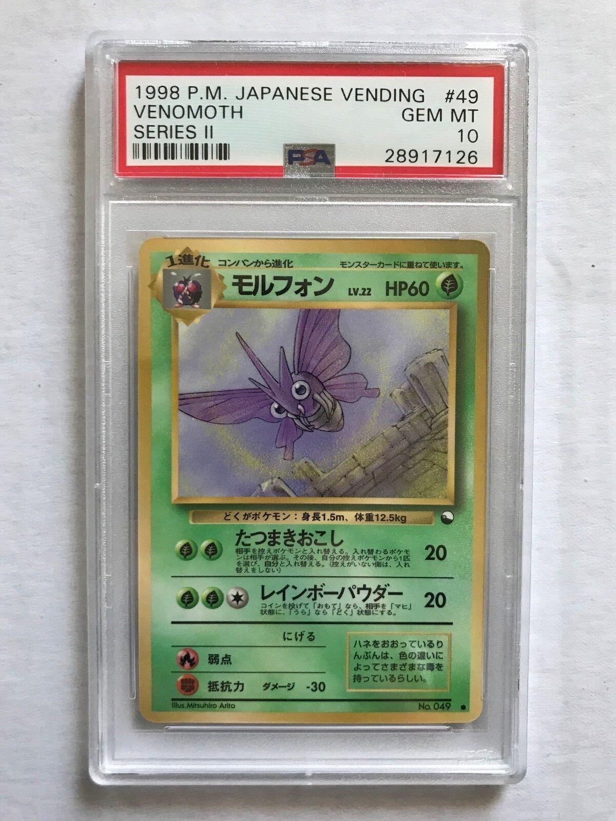 1998 Japanese Pokemon Card Venomoth Vending Series 2 Glossy PSA 10 GEM Mint
