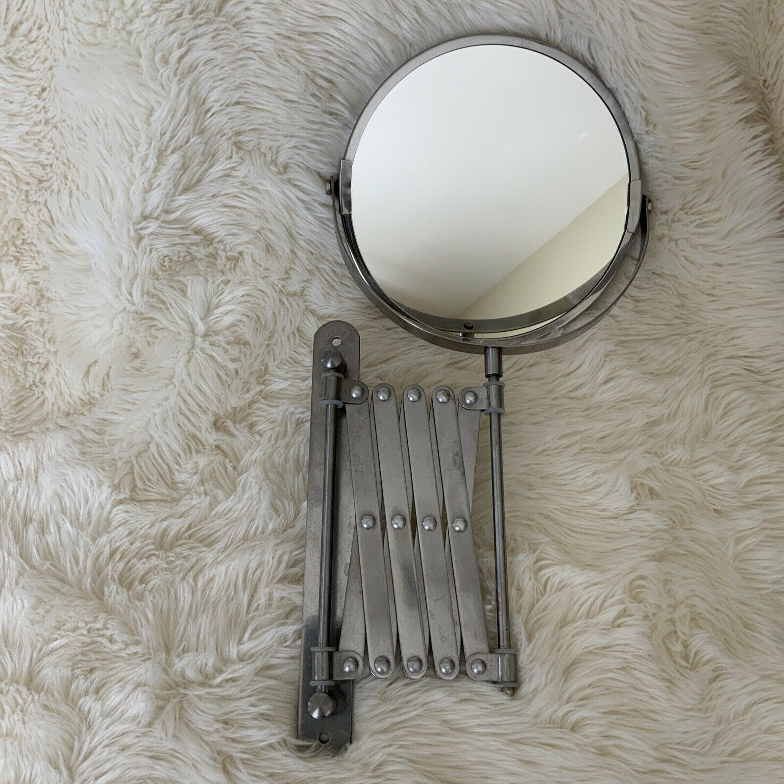IKEA Frack Stainless Steel Wall Mount Bathroom Mirror w/ extension arm Vtg Style