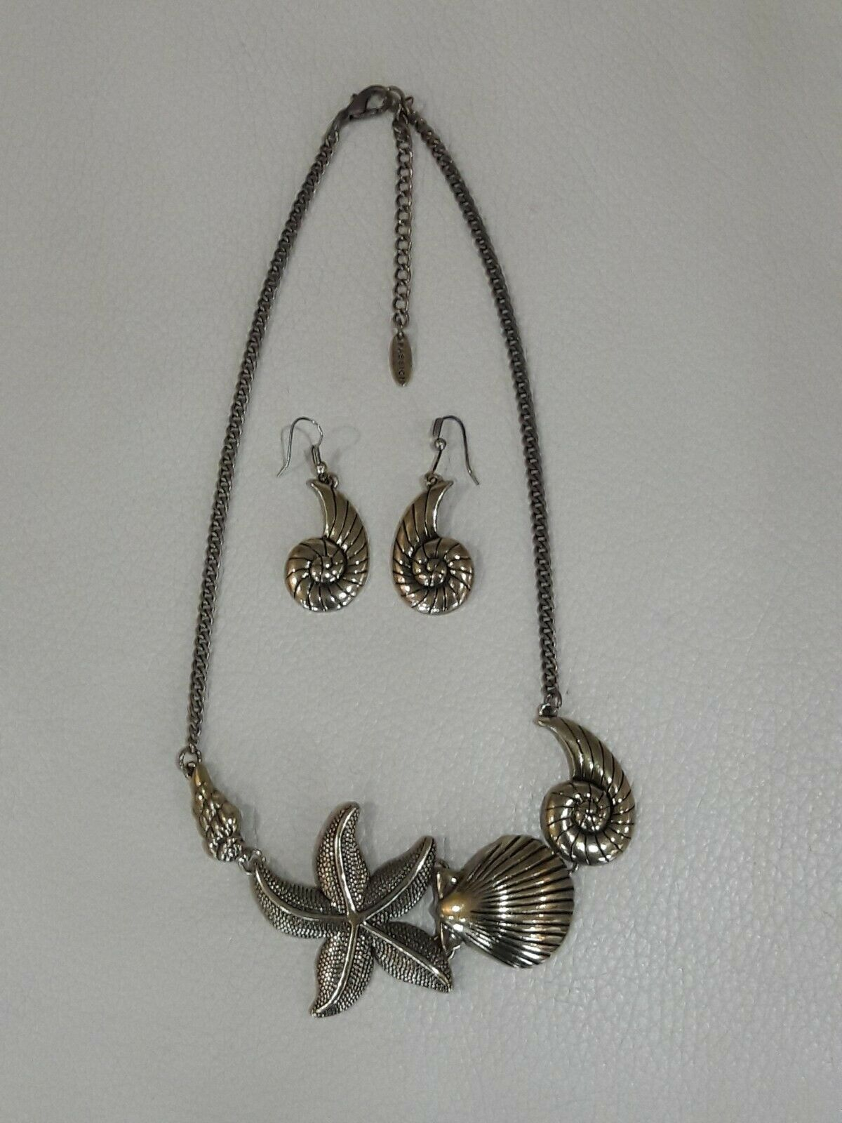 Seashell Necklace Pierced Earrings Pewter Handmade Ocean Nature Pendant Sanibel