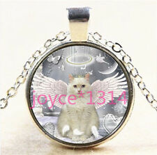 Vintage Angle Cat Cabochon Tibetan silver Glass Chain Pendant Necklace #5732