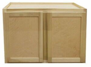 Kitchen Wall Cabinet Unfinished Poplar Shaker Style 36x24x24 In Ebay