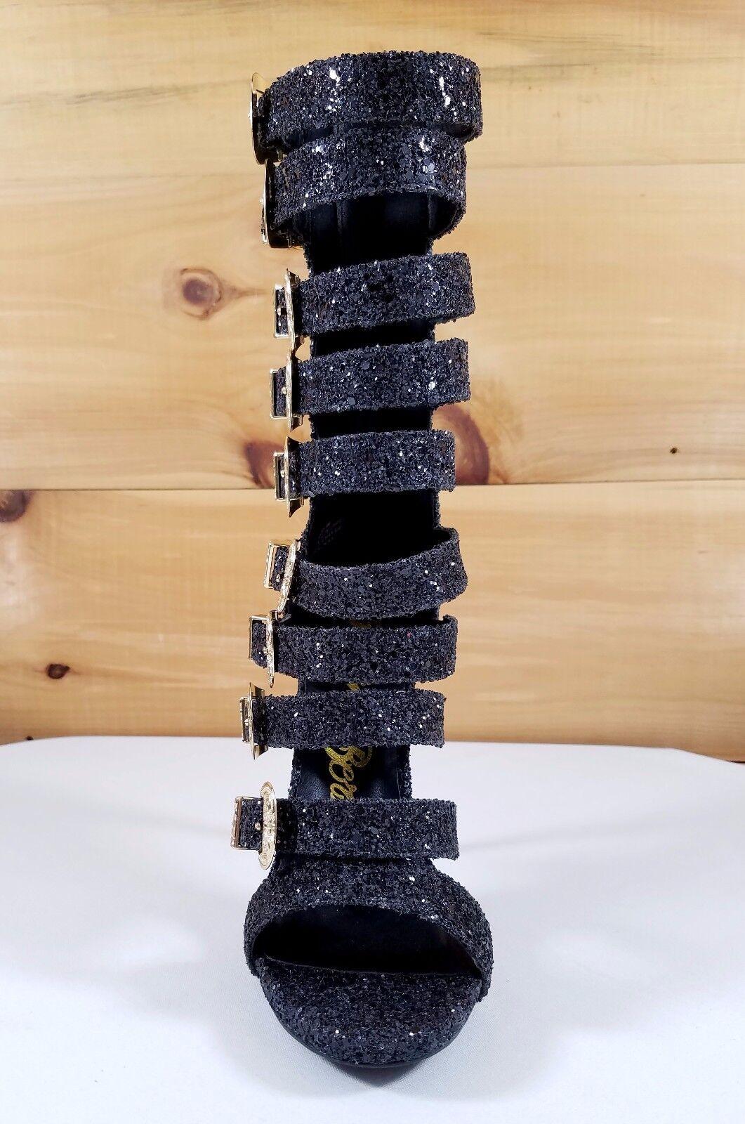 Nelly Bernal IN Stock NOW Wavy Multi Multi Multi Strap High Heels Black Glitter shoes 3f0607