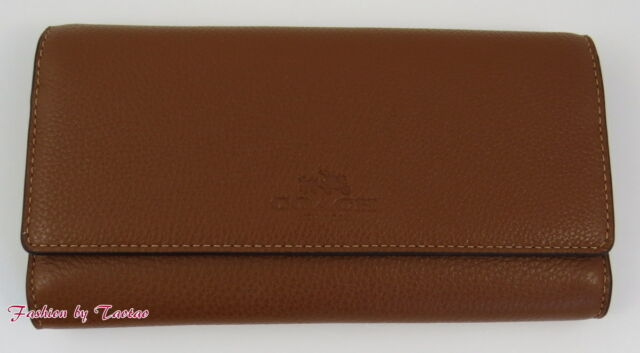 timeless design 620d7 ce90a Coach Pebbled Leather Trifold Wallet in Saddle F53708 Ship