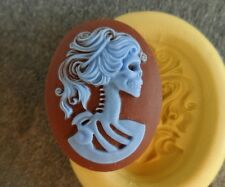 Gothic Skeleton Lady cameo silicone push mold mould polymer clay resin Sugar WAX