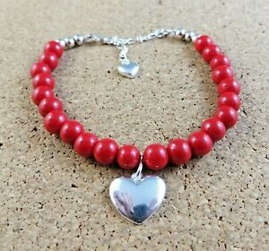 Pearl With Red Coral 925 Sterling Silver Heart Charm Beaded Bracelet,Heart Charm With Bead Stone Bracelet,Mother/'s Day Gift,Gift For Mom