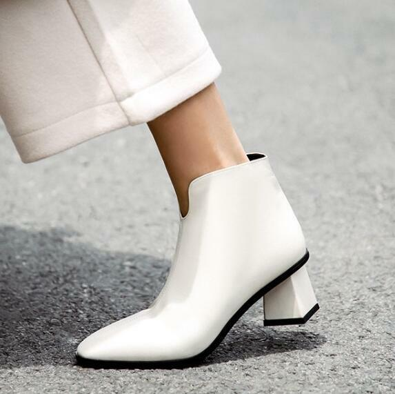 Simple Square Toe Block Heels Women's Leather Winter New Simple Zip Ankle Boots@