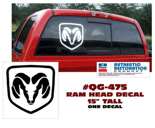 "QG-475 DODGE TRUCK RAM HEAD DECAL STICKER 15/"" TALL ONE DECAL"