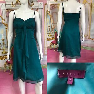 DEBUT-Green-Party-Dress-With-Removable-Strap-Dress-Size-UK-10-YX20