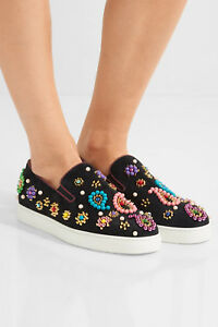 Image is loading CHRISTIAN-LOUBOUTIN-Womens-Boat-Candy-embellished-suede- slip- 87d22b5c0