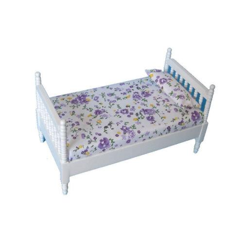"""# Creal 27481 prolétaire /""""Single Bed/"""" blanc Bois 1:12 Pour Maison de poupée NOUVEAU"""