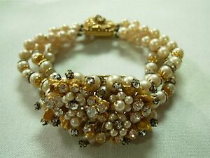 Vintage & Antique Jewelry Amazing Rare Bracelet Signed Miriam Haskell Wide Pearl Cuff Crystals Rhinestones