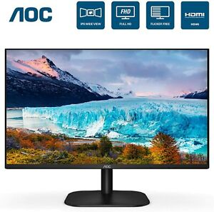 "AOC 24""FHD IPS 3-Sided Frameless Ultra Slim HDMI and VGA inputs 24B2XH Monitor"