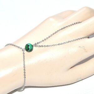 Chaine-de-main-bracelet-bague-acier-inoxydable-Malachite-bijou