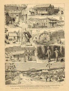 Mining-District-Beaconsfield-near-Launceston-Tasmania-1883-Antique-Art-Print