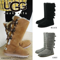 NEW Women's Shoes UGG Australia Bailey Bow Tall Boot 1007308 Black Chestnut