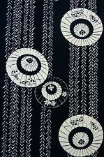 Indigo Blue White Fuji Umbrella Vintage Japanese Kimono Yukata Cotton Fabric 50""