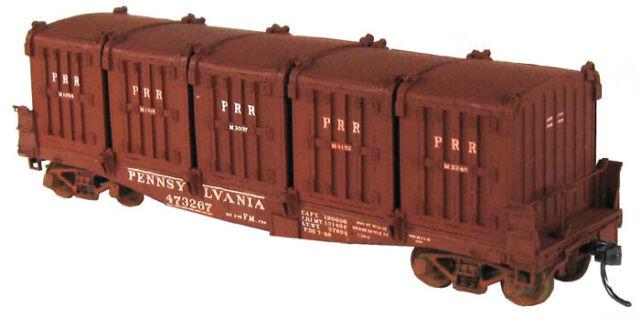 Funaro F/&C 8120  PENNSYLVANIA  PRR FM Flatcar w// 5 DD1A Containers Load  1932-53