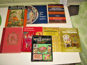 Lot of 8 Vintage NEEDLEPOINT Books Assorted Titles Patterns Projects Crafts etc