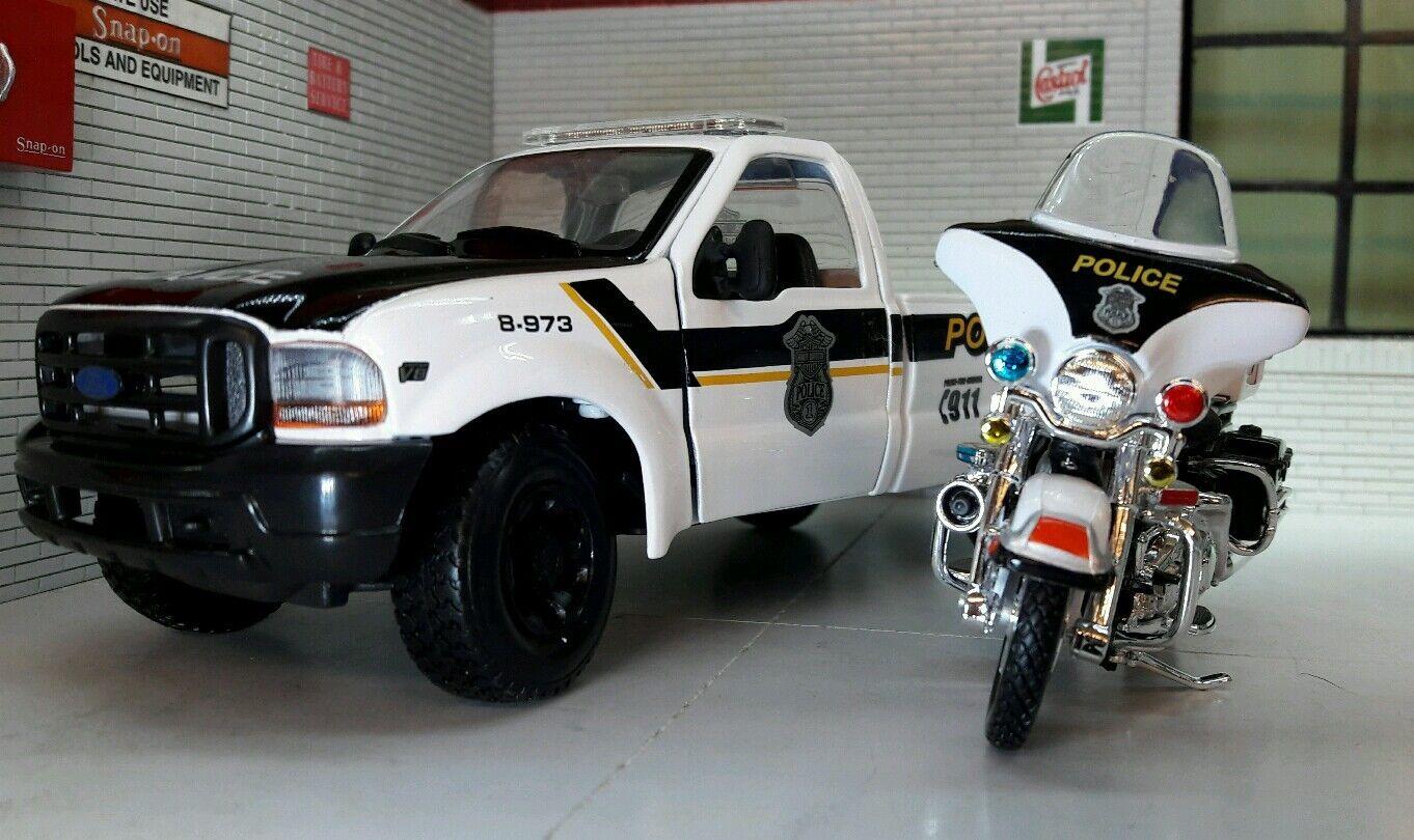 1 24 Echelle Maisto Police Ford F350 & Harley Davidson Modèle Moulé Camion 1 27
