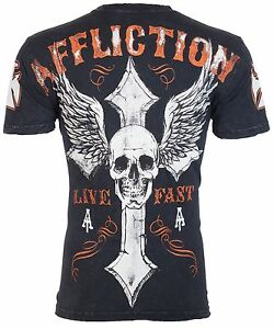 AFFLICTION-Men-T-Shirt-LIVE-FAST-American-Customs-BLACK-Motorcycle-Biker-58