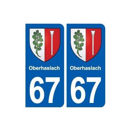 67 Oberhaslach blason autocollant plaque stickers ville -  Angles : arrondis