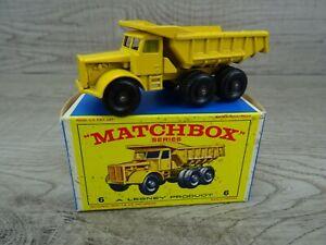 Matchbox-Lesney-Vintage-Decada-de-1960-N-6b-Euclid-Quarry-Truck-Diecast-Coche-de-Juguete-en-Caja