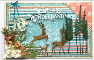 Stanzschablone-Elch-Wald-Baum-Weihnachten-Hochzeit-Geburtstag-Karte-Album-Deko