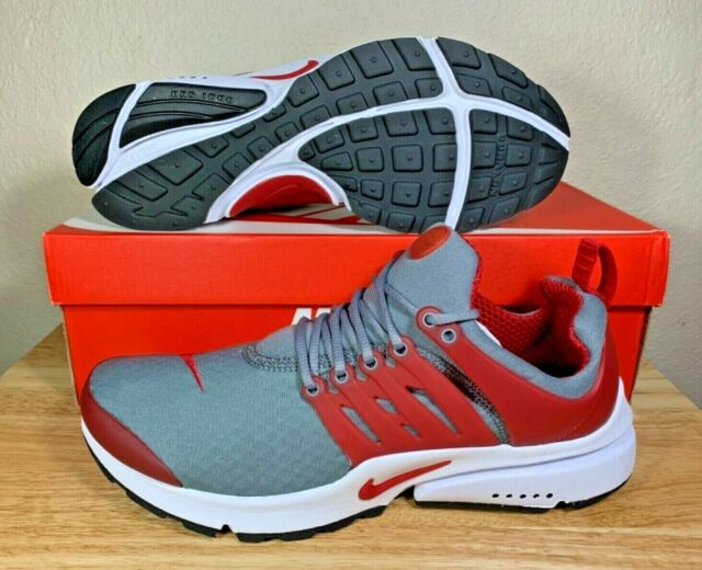 Nike Air Presto Essential Cool Grey Gym Red Mens Running Shoes SZ New 848187 008