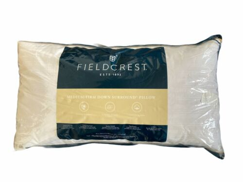 Fieldcrest Medium Firm Down Surround Pillow King Size Coton Sateen Cover