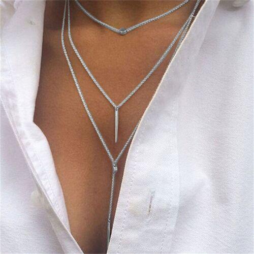 femmes couche de multiples tassel chaîne bar pendentif déclaration collier