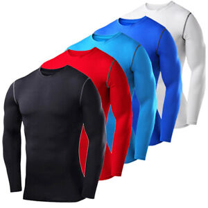 Mens-Compression-Shirt-Long-Sleeve-Dri-Fit-Base-Layer-Black-White-Running-Tops