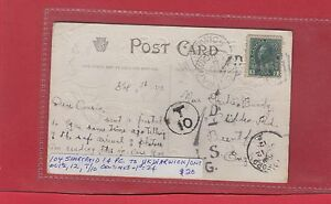 Canada to Great Britain postage due 1d = T10 Warwick Ont 1912 Canada