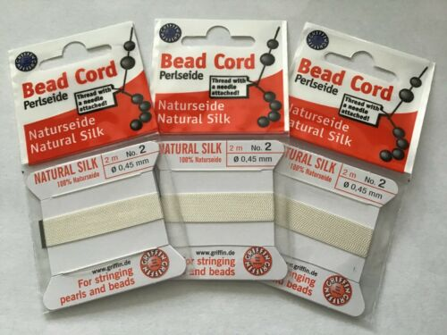 3PK Griffin Size 2 Natural Silk White Thread Cord for Stringing Pearls /& Beads