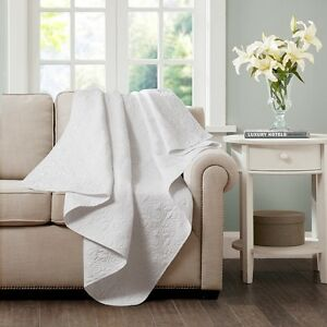Country Shabby Chic Ruffled Oversized Quilted Throw Blanket White 60x70