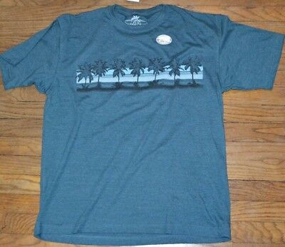 Newport Blue Heather Deep Sea Palm Tree T-Shirt Island Vacation Holiday Tee
