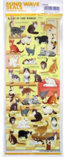 Made in Japan Mind wave cute different breeds of cats clear surface sticker 1pc