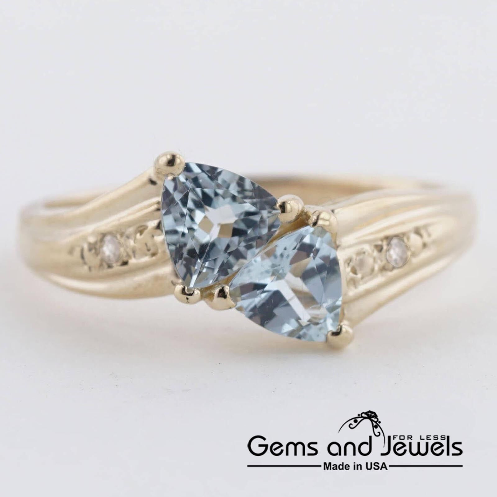 343 Aquamarine Bypass Ring set in Solid 14K Yellow gold Women's  139